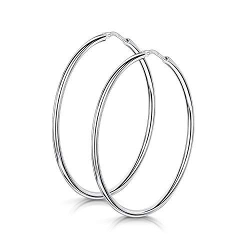 Amberta® 925 Sterling Silber Edle Ringe mit Scharnierbügel – Kleine runde Creolen Ohrringe - Durchmesse: 7 10 15 20 25 35 45 55 mm (45mm)