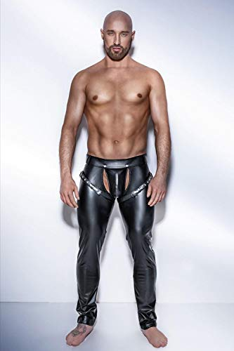 Ligas Y Ligueros Para Mujer Hombres Pantalones De Cuero Sintético De Pvc Negro Para Hombres Club Wear Stage Skinny Pants Stretch Leggings Pantalones Largos De Látex Sexy Traje De Baile-Black_X