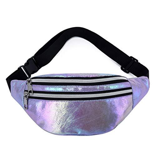 WTALL Bolsa de cinturón holográfica para mujer, bolsa de viaje, hip bum pecho