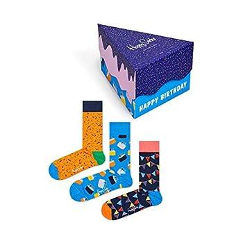 Happy Socks Happy Birthday Socks Gift Box Blue Orange Navy 10-13