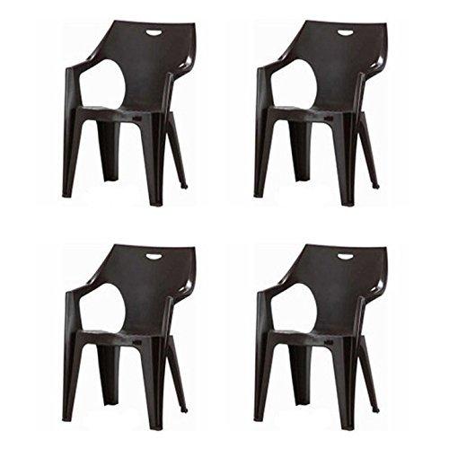 イタリア製 ガーデンチェア イス 4脚セット 『 アンジェロ 』【FBC】ブラウン #7231 (#9879273×4-12271x4) 58×54×80cm 軽量 スタッキング可