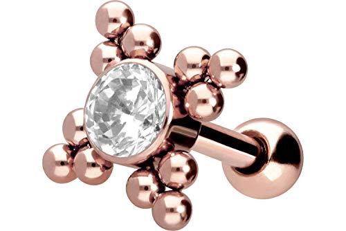 PIERCINGLINE Chirurgenstahl Ohrpiercing   Kristall + 4 Kugeldreiecke   Piercing Ohr Stecker   Farbauswahl