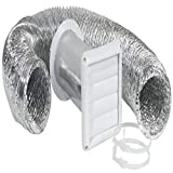 Imperial 4' x 8-Foot Louvered Vent with Flexible Aluminum Ducting, Dryer Vent Kit, White, VT0271-A
