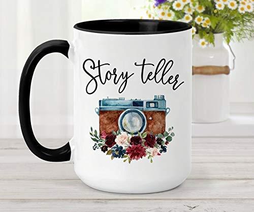 Taza de café | Narrador de historias | Taza del fotógrafo | Taza que corrige de la foto taza | Regalo para fotógrafos | Regalo de fotógrafo de bodas | Cámara floral, cumpleaños, acción de gracias, reg