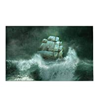 マリンサンダーストームでの古い海賊船の船の装飾家の装飾滑り止めのバスラグセットバスルームの浴槽の寝室用の吸収性フロアマット,40x60 cm