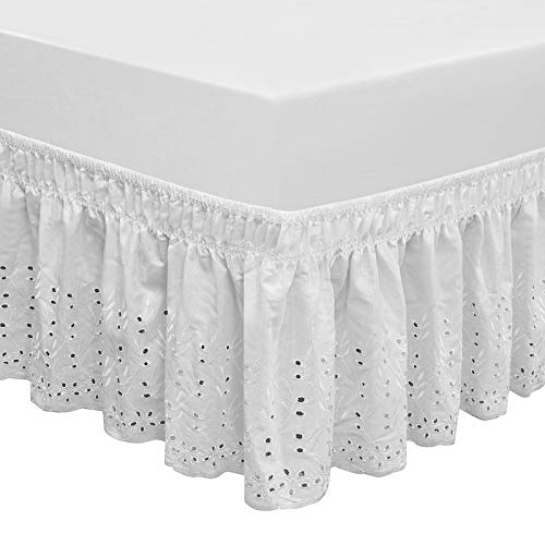 QSY Home Wrap Around Elastic Eyelet Bed Skirts 14 1/2 Inches Drop Dust Ruffle Three Fabric Sides Easy On/Easy Off Adjustable Polyester Cotton(White Queen/King)