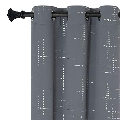 Estelar Textiler Blackout Curtains Silver Lattice Print Black Out Window Curtains Geometric Pattern Curtains for Bedroom Patio Door 38W×72L Grey Set of 2 Panels