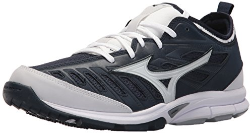 Mizuno Men's Players Trainer 2 Turf Baseball-Shoes,Navy/White,7.5 D US