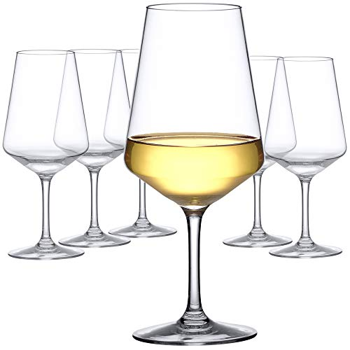 Amazing Abby 20-Ounce Unbreakable Tritan Wine Glasses (Set of 6), Reusable Plastic White Wine Glasses, BPA-Free, Dishwasher-Safe, Shatter-Proof, Perfect for Outdoors, Poolside, Camping, and More