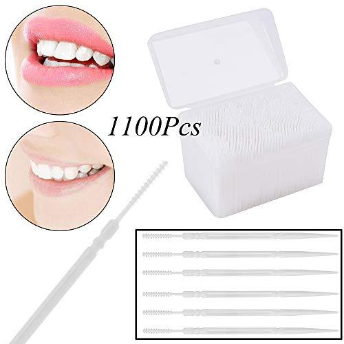 YH 1100 Unids/Caja Palillos de Dientes de Plástico Cepillo Dental de 2 Vías Cepillo Cepillo Interdental con Caja de Almacenamiento para Limpieza de Dientes Cuidado Oral