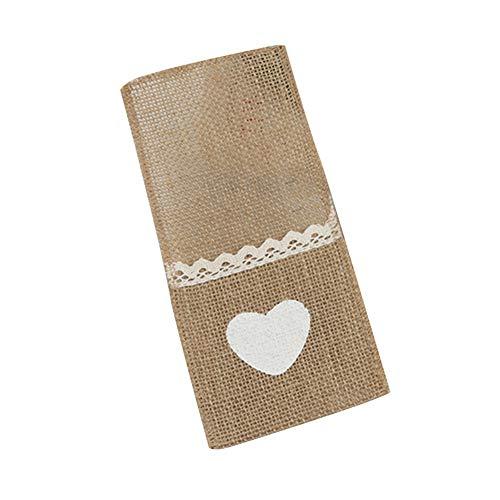litty089 bruiloftsfeest diner tafel ornament, pakket van 5 servies zakje, jute hart patroon met kant, geschikt voor mes lepel houder tas