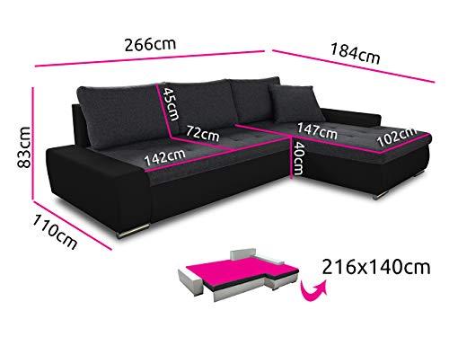 Ecksofa günstig:   Schlaffunktion Aspen – Couch Bild 5*