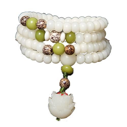 Pulsera de cuentas de raíz de Bodhi blanco natural 108 Lotus oración pulsera mujer pulsera regalo