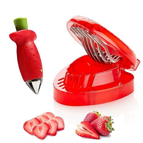 Mayata 1set/2pcs kitchen fruit gadget strawberry slicer strawberry corer strawberry stem remover Fruit Cutter Slice kitchen Fruit gadget