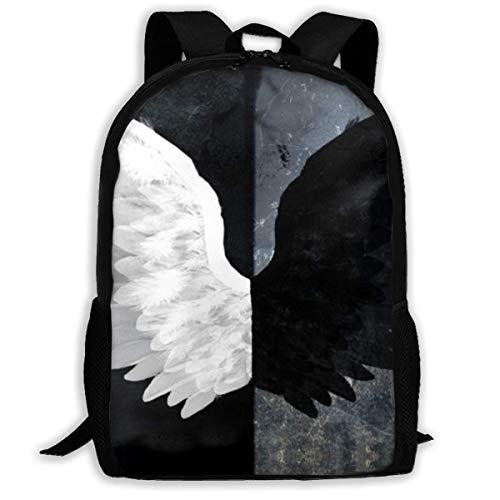 Angel Black White Evil Wings - Zaino da viaggio per adulti, adatto per computer portatili da 15,6', per scuola, università, casual, per uomini e donne