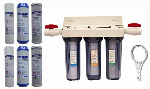 Whole House 3-Stage Water Filtration System, 3/4' port with 2 valves and extra 1 year filter supply (2 sets, 6 pcs)