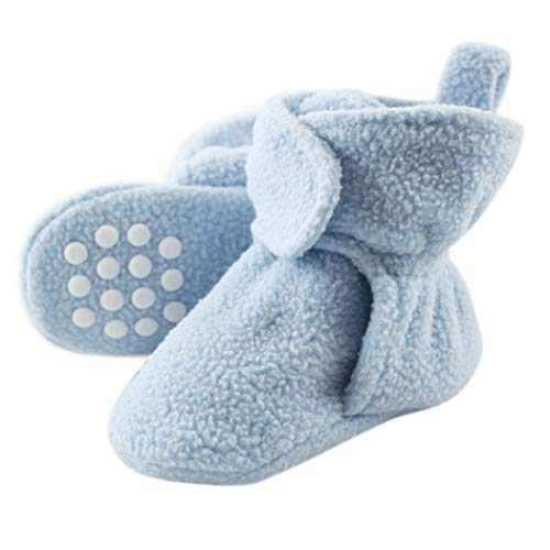 Luvable Friends Unisex Baby Cozy Fleece Booties, Light Blue, 0-6 Months