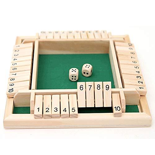 Lixada Nummer Spielspielzeug Eltern-Kind Brettspiel,Holz Four Side Flop Würfel Spiel Bar Party Freizeitspiel Mathe Spielzeug,für Kinder Familie Erwachsene Party