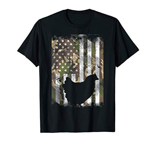Camo Flag Chicken Vintage Farm Animal Patriotic Farmer Gift T-Shirt
