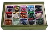 Colección de 15 Minerales de África en Caja de Madera Natural - Minerales Reales educativos con Etiqueta informativa a Color. Kit de Ciencia de Geología para niños.