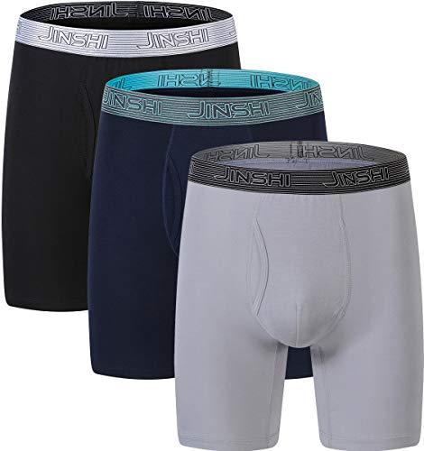 JINSHI Herren Unterhosen Nahtlos Unterwäsche Bambus Langes Bein Stretch Boxershorts eng Retro Trunks 3er Pack Schwarz+Blau+Greu M