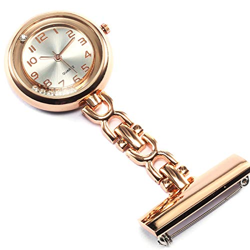 MHwan Reloj Fob para Enfermeras Clip, Reloj de Enfermera Fob, Reloj de Bolsillo de Cuarzo médico Colgante con Clip, Reloj de Bolsillo médico portátil para Hombres, Mujeres, 3,3x8,5 cm