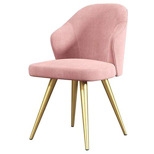 XCZZYC Sedie da Pranzo Gambe in Metallo Imbottite Schienale Sedia da Tavolo Sedia in Tessuto Ufficio Hotel Ristorante Mobili Altezza Seduta 45 cm (Colore: Rosa)