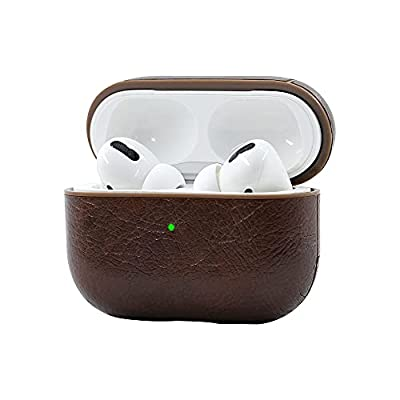 Heyya Panda PU Leather Case Cover for Airpods Pro, Shockproof Protective Cover for Airpods, Waterproof [Front LED Visible] Wireless Charging Support, Brown by Heyya Panda