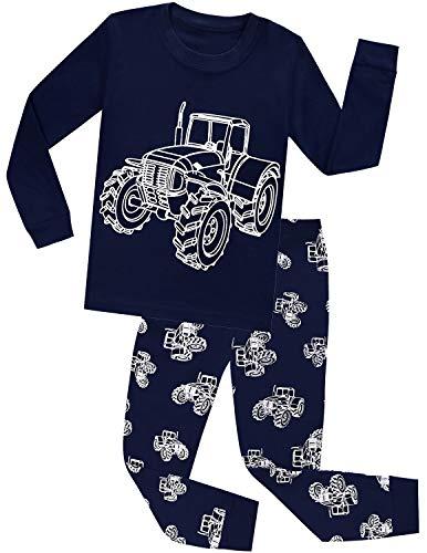 CM-Kid Schlafanzüge Jungen Fluoreszenz Baumwolle Lange Pyjama Set Kinder Zweiteilige Nachtwäsche Langarm Oberteil + Hose Warm Frühling Herbst Winter Traktor Dunkelblau 92