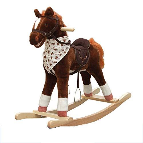 YUEZPKF Schön Schaukelstuhl Baby Spielzeug Schaukelstuhl Trojanische Kinder Rocking Horse Holz Schaukelstuhl 2 in 1 Geschenk, 80kg Kapazität, Kinder