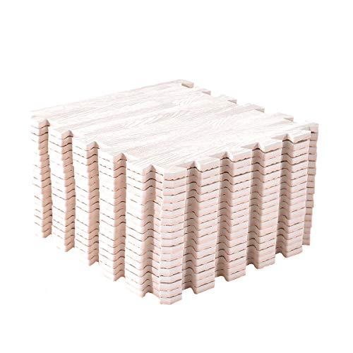 Amazon Brand - Umi Tapis de Sol imbriqués en Bois Mousse(6pieces-24SFT,9pieces-9SFT,18pieces,18SFT) (chêne Blanc, 30cmx30cm 18 tapis-18 Square Feet)