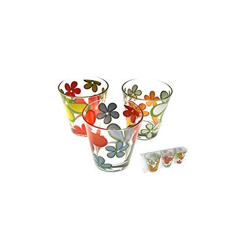 HOME Papete Vasos Agua, Pack de 3Unidades, Cristal, Transparente/Multicolor