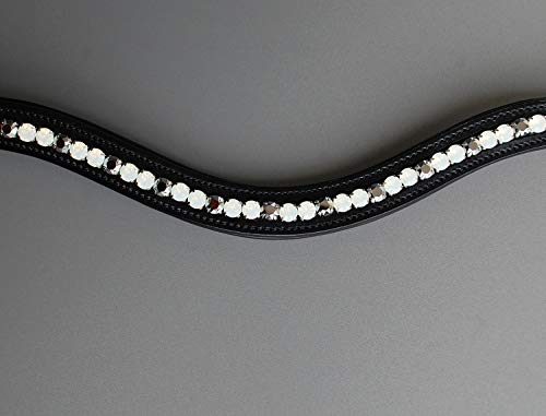 GlücksHucke Glitzer Stirnband Pferd weiß 'White Chrome' Stirnriemen geschwungen, weich unterlegt in Weiß & Silber (WB XL, Lederfarbe Schwarz)