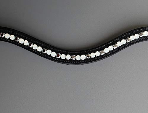 GlücksHucke Glitzer Stirnband Pferd weiß 'White Chrome' Stirnriemen geschwungen, weich unterlegt in Weiß & Silber (WB, Lederfarbe Schwarz)