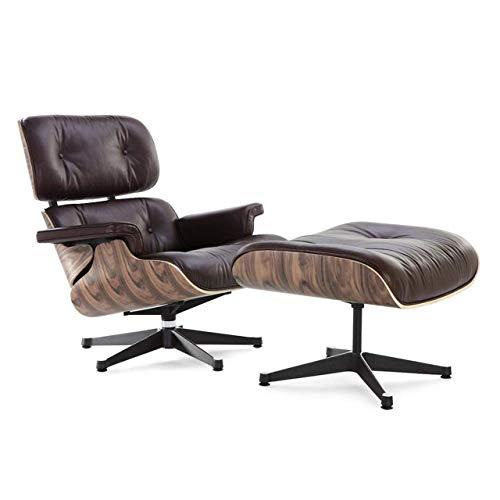 Mid-Century Modern Lounge Chair and Ottoman – Brown, Classics by Decorific NYC, Single Box (Brown, Aniline Leather, Walnut)