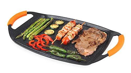Orbegozo GDB 4700 - Plancha grill de aluminio fundido, revestimiento antiadherente, asas de goma, apta para lavavajillas, libre de PFOA