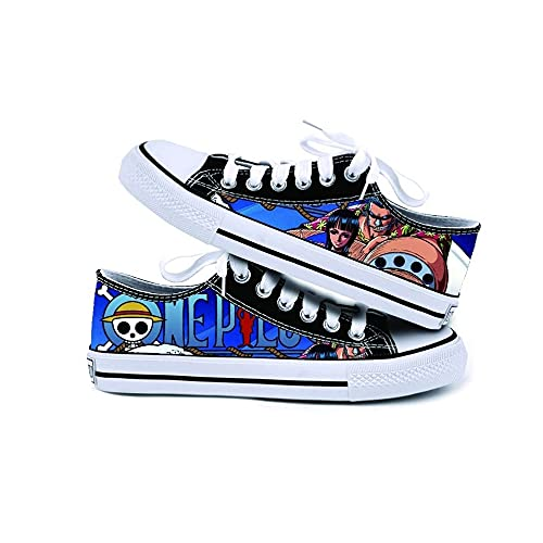 JPTYJ One Piece Monkey·D·Luffy/Portgas·D· Ace Canvas Shoes Zapatillas para Hombre Anime Cosplay Unisex Lona Zapatos C-39