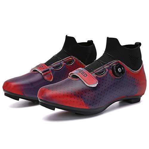 MJ-Brand Zapatillas de Ciclismo - Hombre Mujer Zapatillas de Ciclismo de Carretera Zapatillas de Montar con Hebilla giratoria Tacos Transpirables Compatible con SPD Look Delta Ejercicio