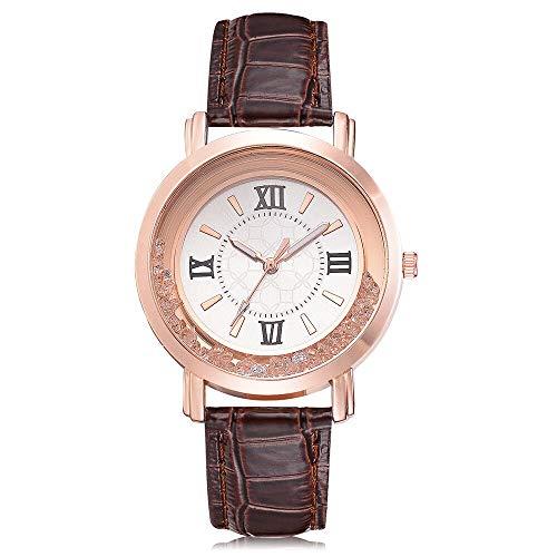 XJS Reloj de Moda Relojes de Lujo for Las Mujeres Reloj de Cuarzo Libre del Taladro del Sistema de Cuero Regalos de Acero Inoxidable de la Pulsera del Reloj de señoras para Mujeres (Color : Brown)