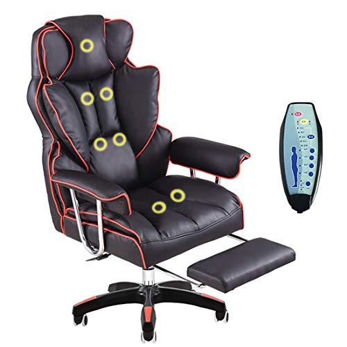 ADHKCF Sillón reclinable de cuero con alas Sillón giratorio de masaj