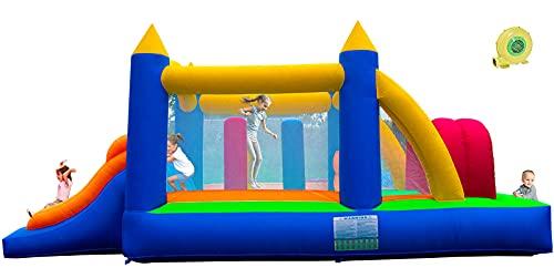 Ballsea Castillo hinchable con ventilador, castillo para niños con tobogán, trampolín de obstáculos (488 x 240 x 190 cm)
