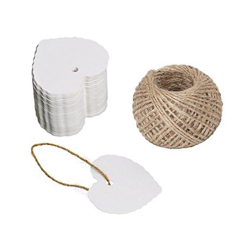 Colgante regalo 100 unidades Etiquetas con cuerda para regalo, 30m, color Weiß 5.5 CM * 6 CM