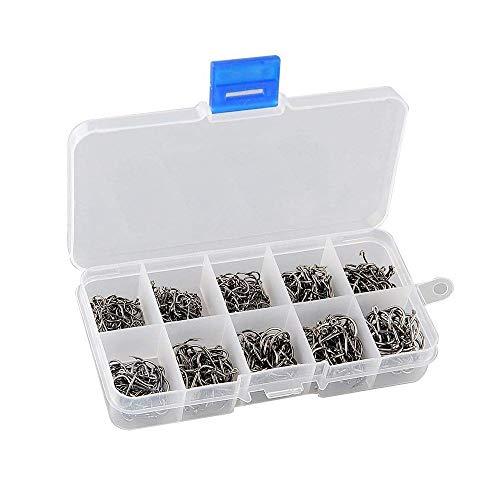 Haobase Kohlenstoffstahl Karpfen Angelhaken Köderhaken mit Kunststoffbox (Set mit 500 Stück / 10 Größen 3# -12#)