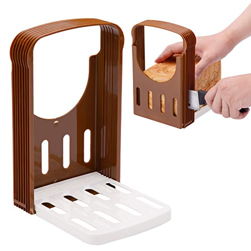 Foldable Bread Cutting Bread Slicer Guide, Compact Sandwich Bagel Loaf Slicer & 4 Thickness Adjustable Plastic Household Toast Slicer