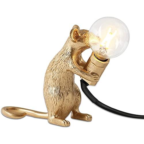 Lámpara de Mesa de Resina LED Little Mouse 3 Luces nocturnas Creativas en Diferentes Poses y Colores adecuados para la Sala de Estar, el Dormitorio, la habitación del bebé y la Oficina,Oro,Sit Down