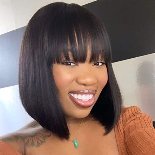 Amanda 10 inch Short Bob Human Hair Wigs with Bangs Brazilian Virgin Human Hair Straight Bob Wigs 130% Density Glueless Machine Made Wigs Human Hair Wigs for Women