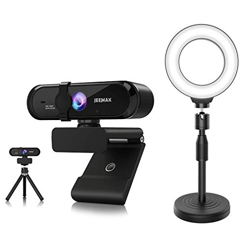 "JEEMAK Selfie Ring Light 6"" Ring Light with Stand Webcam Autofocus with Microphone for Desktop"