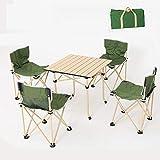VBARV Tragbare klappbare Camping Tischstühle Set, kompakter Camp Tisch, 4 Stühle mit Rückenlehne, leicht, mit Tragetasche, für Outdoor-Wanderungen Patio Beach Travel Picknick