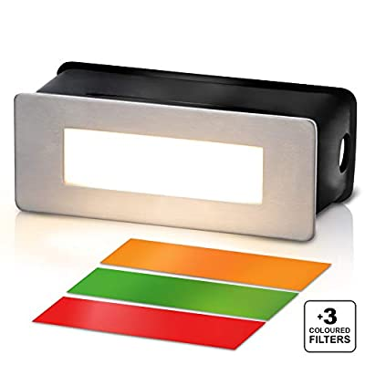 LED Stairway Lights Indoor - Stairway Lights with Warm White Glow and 3 Coloured Filters- Recessed Light for Stair Deck Corridors - Easy Installed Step Lights with Built-in Adapter 120V