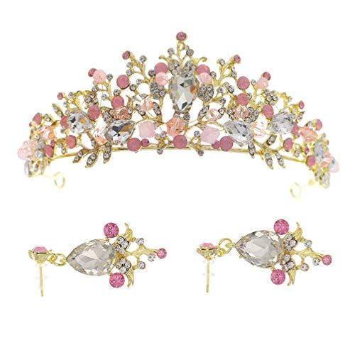 ifundom Corona de Tiara Barroca de Diamantes de Imitación con Pendientes Conjunto de Joyería de Fiesta de Boda